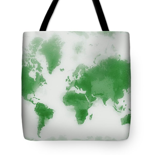 Green World Map Tote Bag
