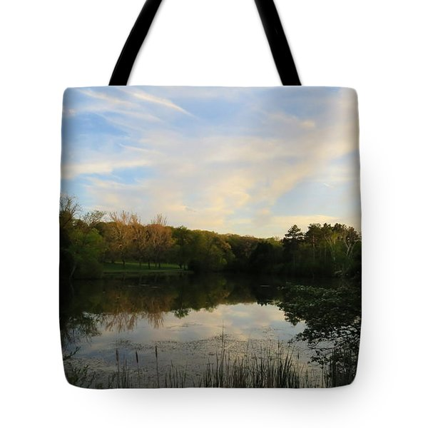 Tote Bag featuring the photograph Greenfield Pond by Kimberly Mackowski