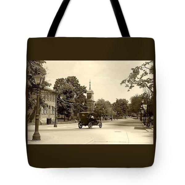 Tote Bag featuring the digital art Greenfield Village Scene by Ellen O'Reilly
