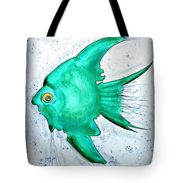 Tote Bag featuring the mixed media Greenfish by Walt Foegelle
