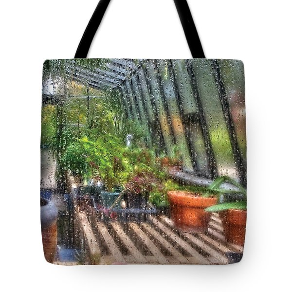 Greenhouse - In A Greenhouse Window  Tote Bag by Mike Savad