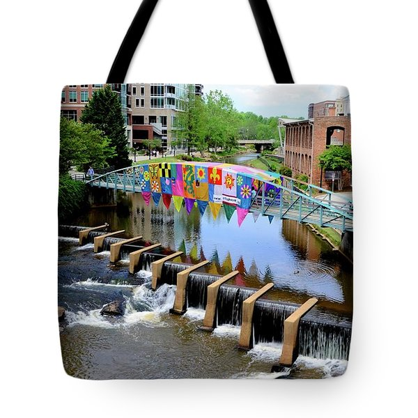 Tote Bag featuring the photograph Greenville River Walk by Corinne Rhode