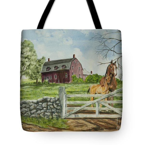 Greeting At The Gate Tote Bag by Charlotte Blanchard
