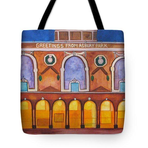 Tote Bag featuring the painting Greetings From Asbury Park by Patricia Arroyo