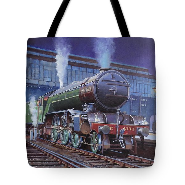 Tote Bag featuring the painting Gresley Green Arrow Class. by Mike  Jeffries