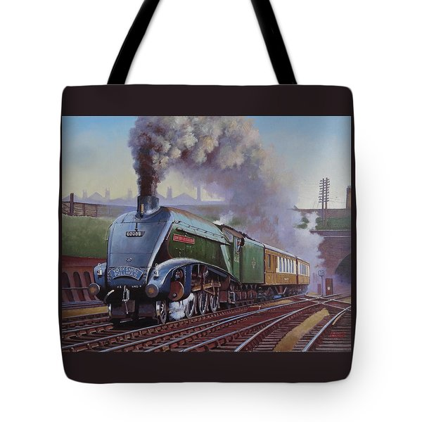 Tote Bag featuring the painting Gresley Pacific A4 Class. by Mike  Jeffries