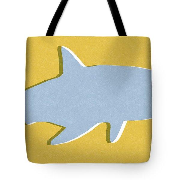 Grey And Yellow Shark Tote Bag