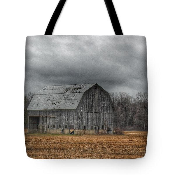 0024 - Grey Barn And Tree Tote Bag
