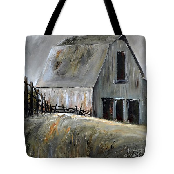 Tote Bag featuring the painting Grey Barn by Cher Devereaux