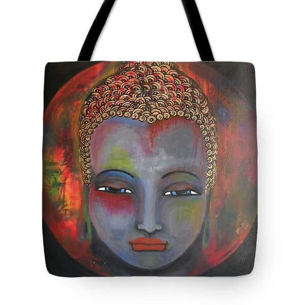 Grey Buddha In A Circular Background Tote Bag