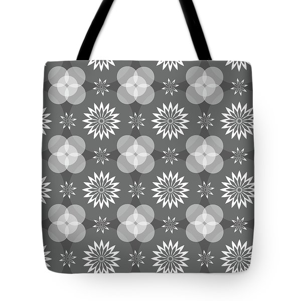 Grey Circles And Flowers Pattern Tote Bag