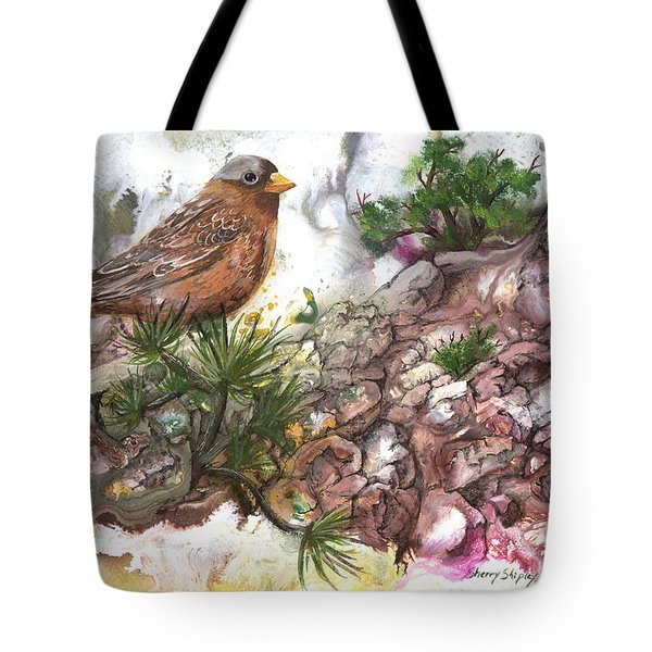 Tote Bag featuring the painting Grey Crown Rosy Finch by Sherry Shipley