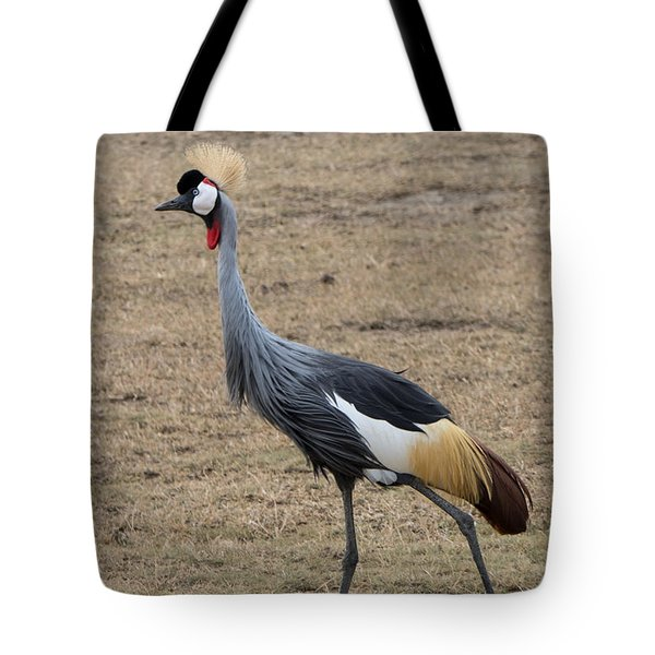 Tote Bag featuring the photograph Grey Crowned Crane In The Wild by Pravine Chester