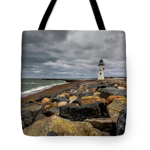 Grey Day At Scituate Lighthouse Tote Bag