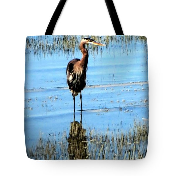 Grey Heron Blue Water Tote Bag