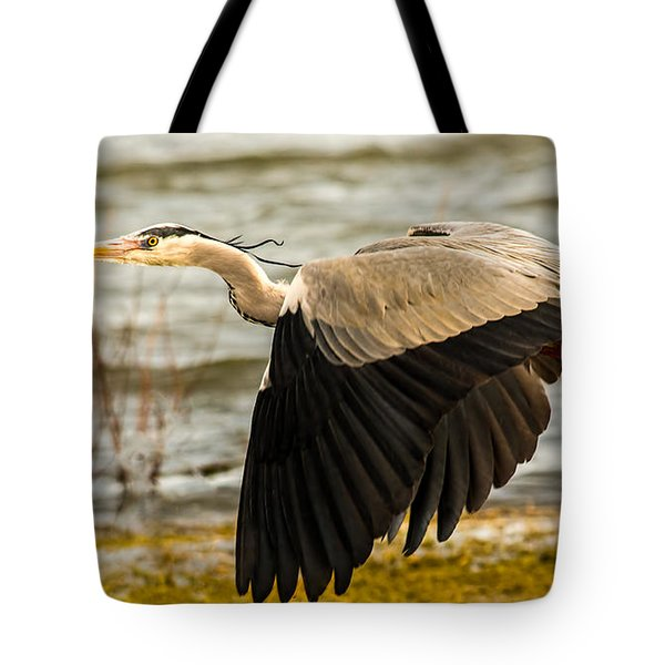 Grey Heron In Flight Tote Bag