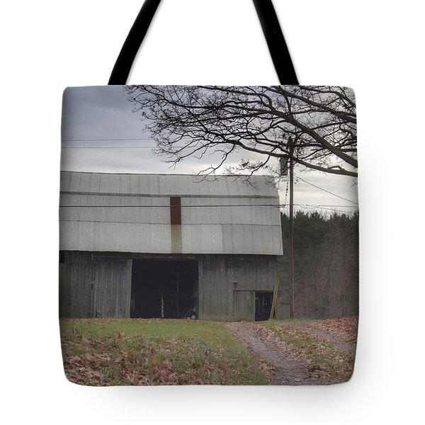 0014 - Grey Horse Barn Tote Bag