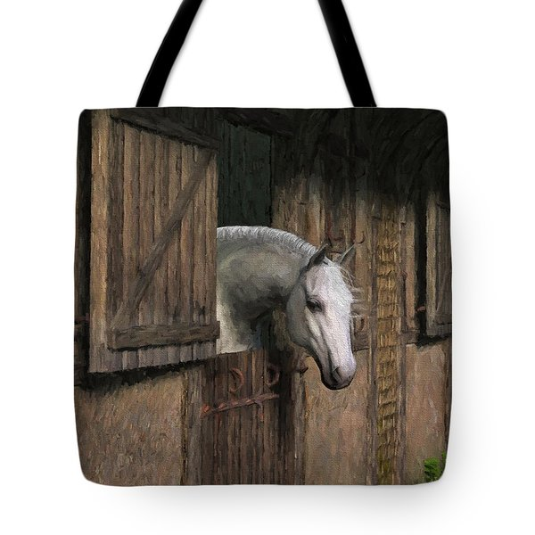 Grey Horse In The Stable - Waiting For Dinner Tote Bag