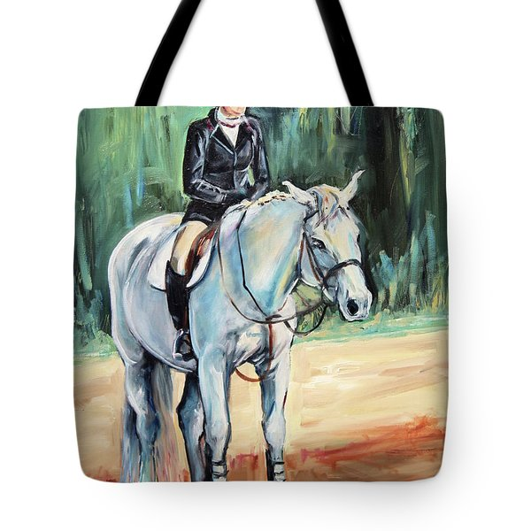 Grey Hunt Seat Horse Tote Bag