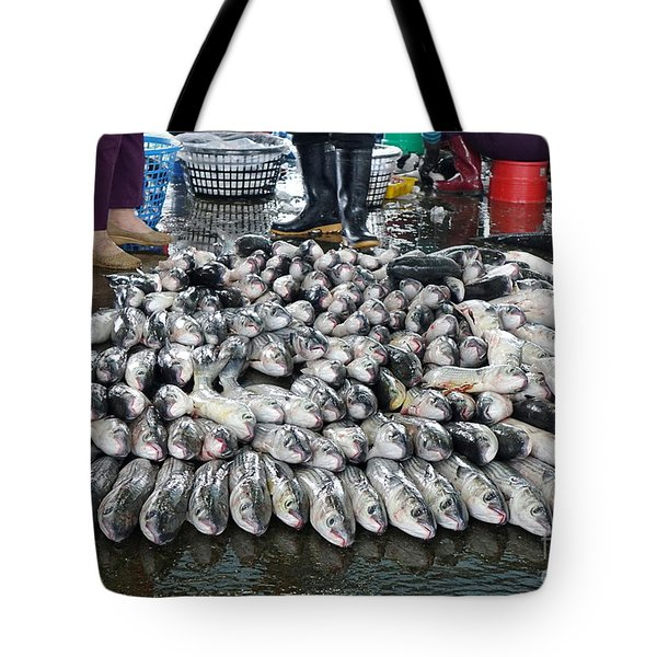 Tote Bag featuring the photograph Grey Mullet Fish For Sale At The Fish Market by Yali Shi