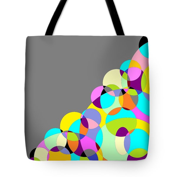 Grey Multicolored Circles Abstract Tote Bag
