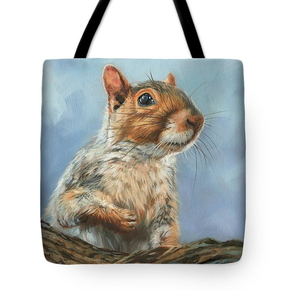 Tote Bag featuring the painting Grey Squirrel by David Stribbling