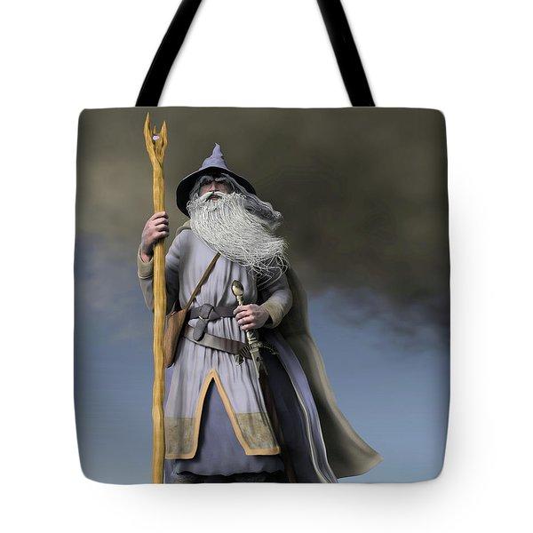 Grey Wizard Tote Bag by Dave Luebbert