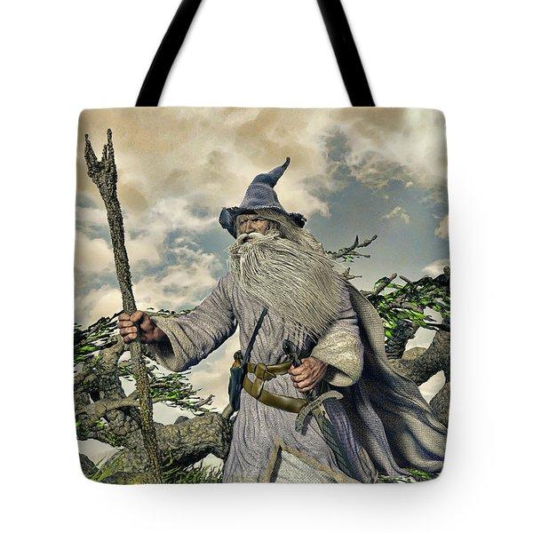 Grey Wizard II Tote Bag by Dave Luebbert