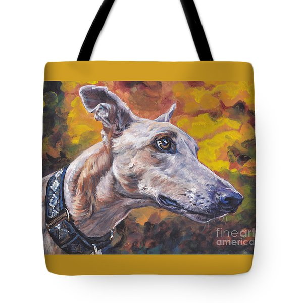 Tote Bag featuring the painting Greyhound Portrait by Lee Ann Shepard