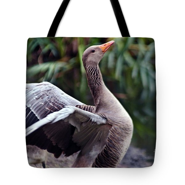Tote Bag featuring the photograph Greylag Goose Poetry by Silva Wischeropp