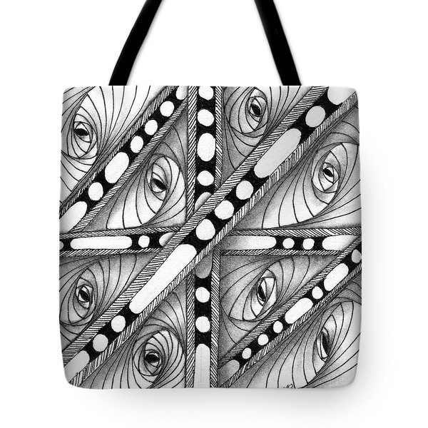 Tote Bag featuring the drawing Gridlock by Jan Steinle