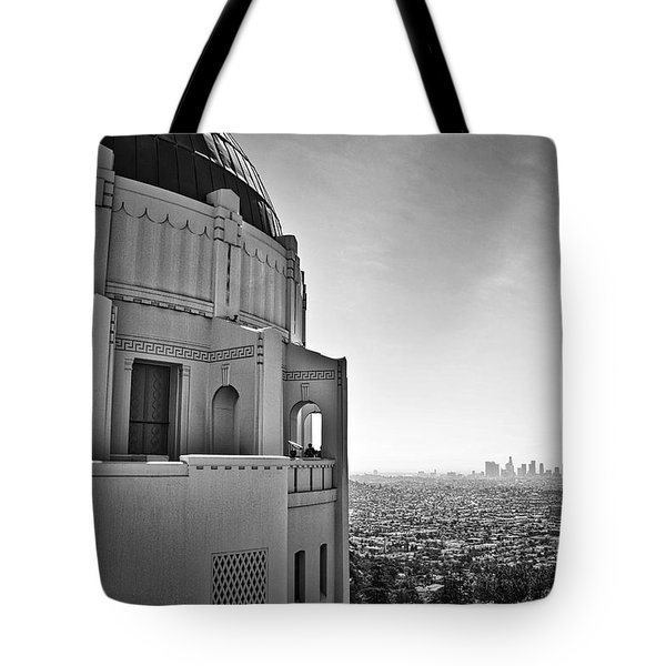 Tote Bag featuring the photograph Griffith Observatory And Downtown Los Angeles by Kirt Tisdale