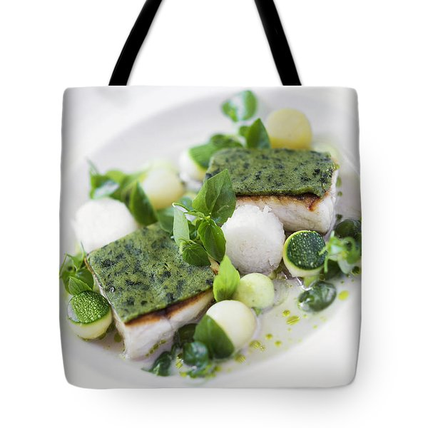 Grilled Fish With Herb Crust And Boiled Vegetables In Cream Sauc Tote Bag