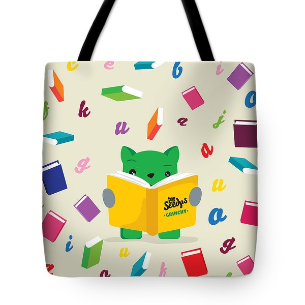Grinchy And Books Tote Bag by Seedys