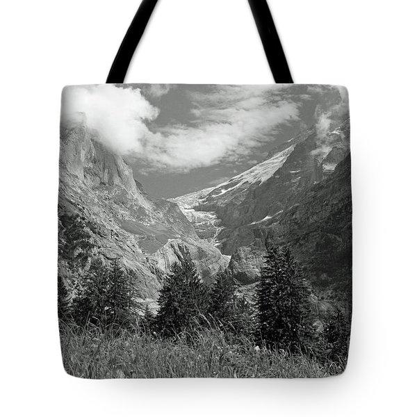 Grindelwald Glacier In Switzerland In Black And White Tote Bag