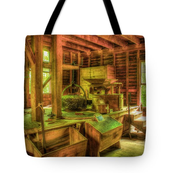 Tote Bag featuring the photograph Grindingworks Mingus Mill Great Smoky Mountains Art by Reid Callaway