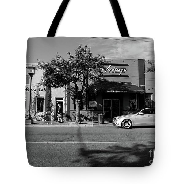 Tote Bag featuring the photograph Grindstone Cafe by Mark Alan Perry