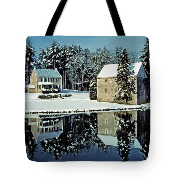 Grings Mill Snow 001 Tote Bag by Scott McAllister