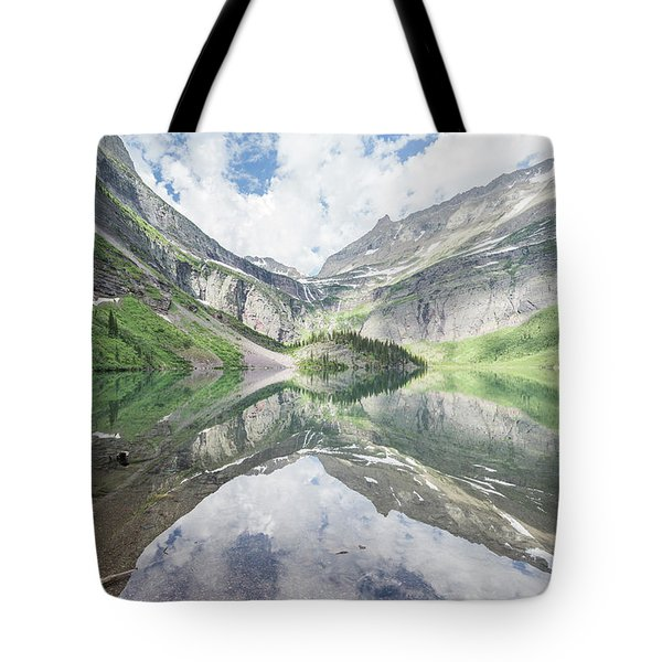 Grinnell Lake Mirrored Tote Bag