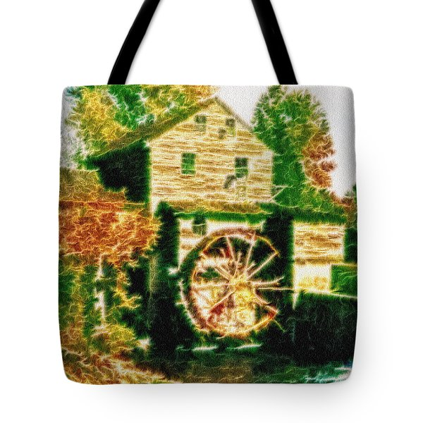 Tote Bag featuring the photograph Grist Mill Tranquility by Mario Carini
