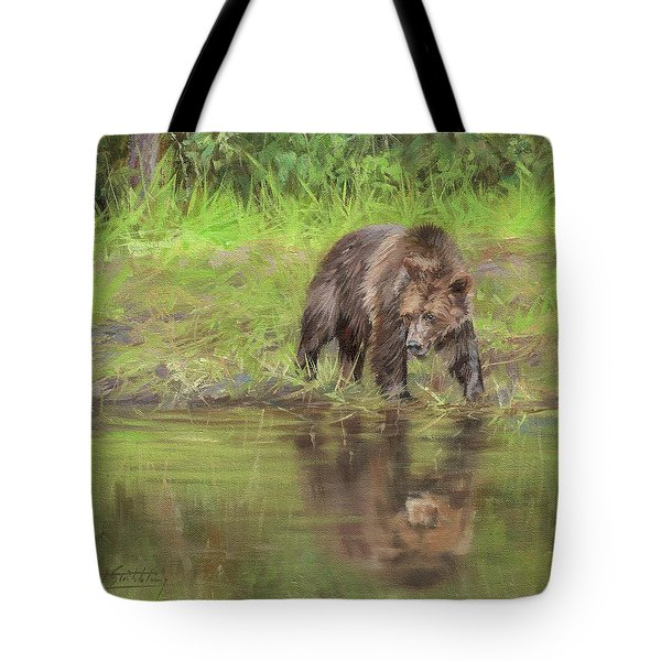 Grizzly Bear At Water's Edge Tote Bag
