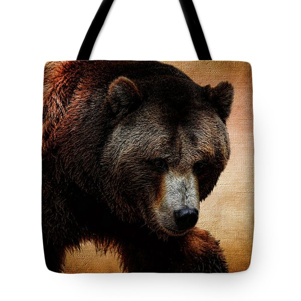 Grizzly Bear Tote Bag by Judy Vincent
