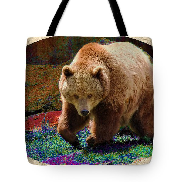 Tote Bag featuring the digital art Grizzly Bear With Enhanced Background by Kae Cheatham