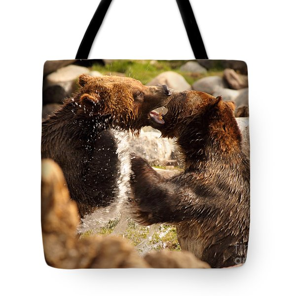 Tote Bag featuring the photograph Grizzly Bears In A Battle Of Tooth And Claw by Max Allen