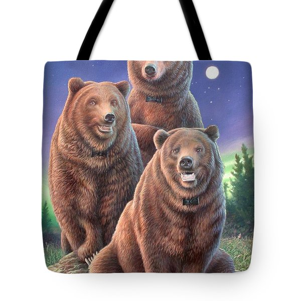 Grizzly Bears In Starry Night Tote Bag