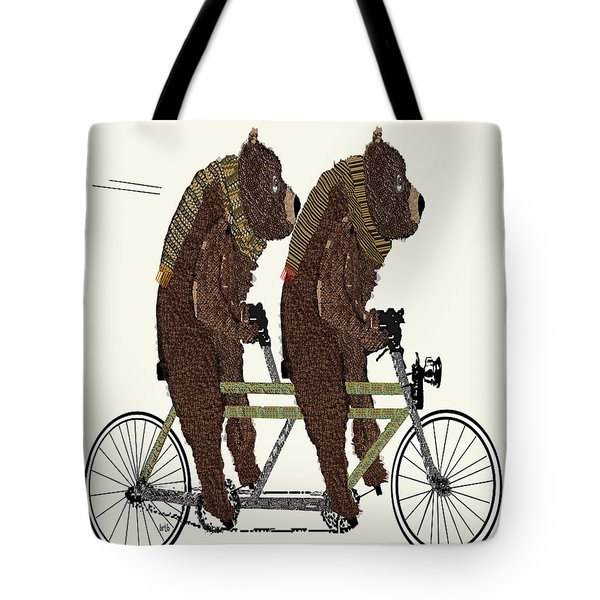 Tote Bag featuring the painting Grizzly Bears Lets Tandem by Bri B