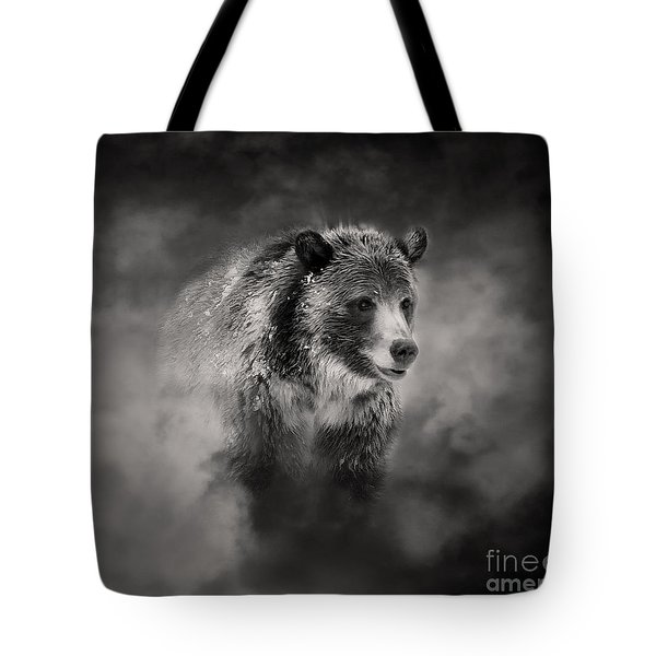 Grizzly Black And White In Clouds Tote Bag