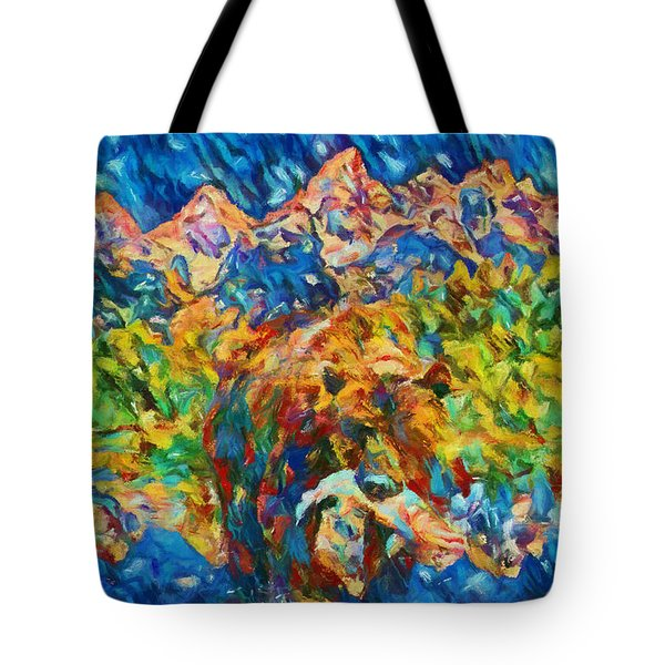 Tote Bag featuring the painting Grizzly Catch In The Tetons by Dan Sproul