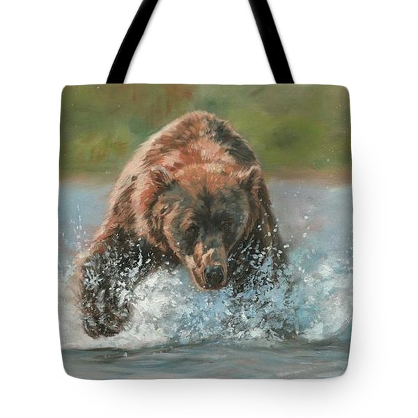 Tote Bag featuring the painting Grizzly Charge by David Stribbling