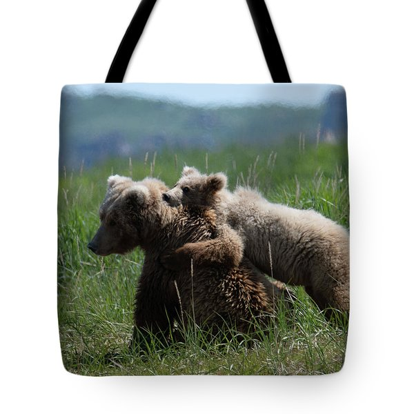Grizzly  Mother And A Cub In Katmai National Park Tote Bag